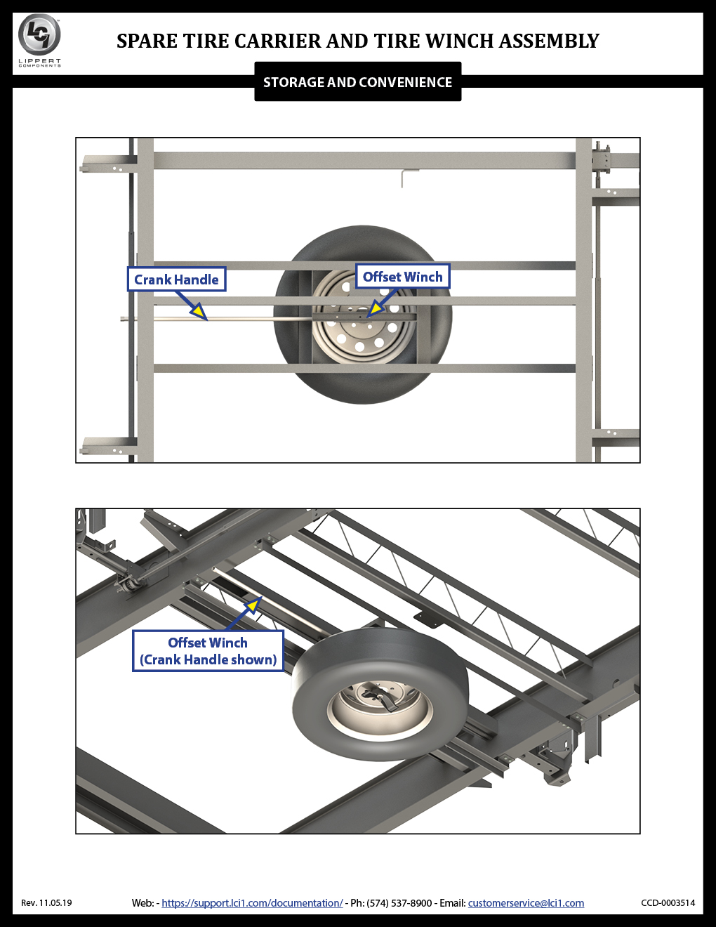 Spare Tire Carrier and Tire Winch Assembly