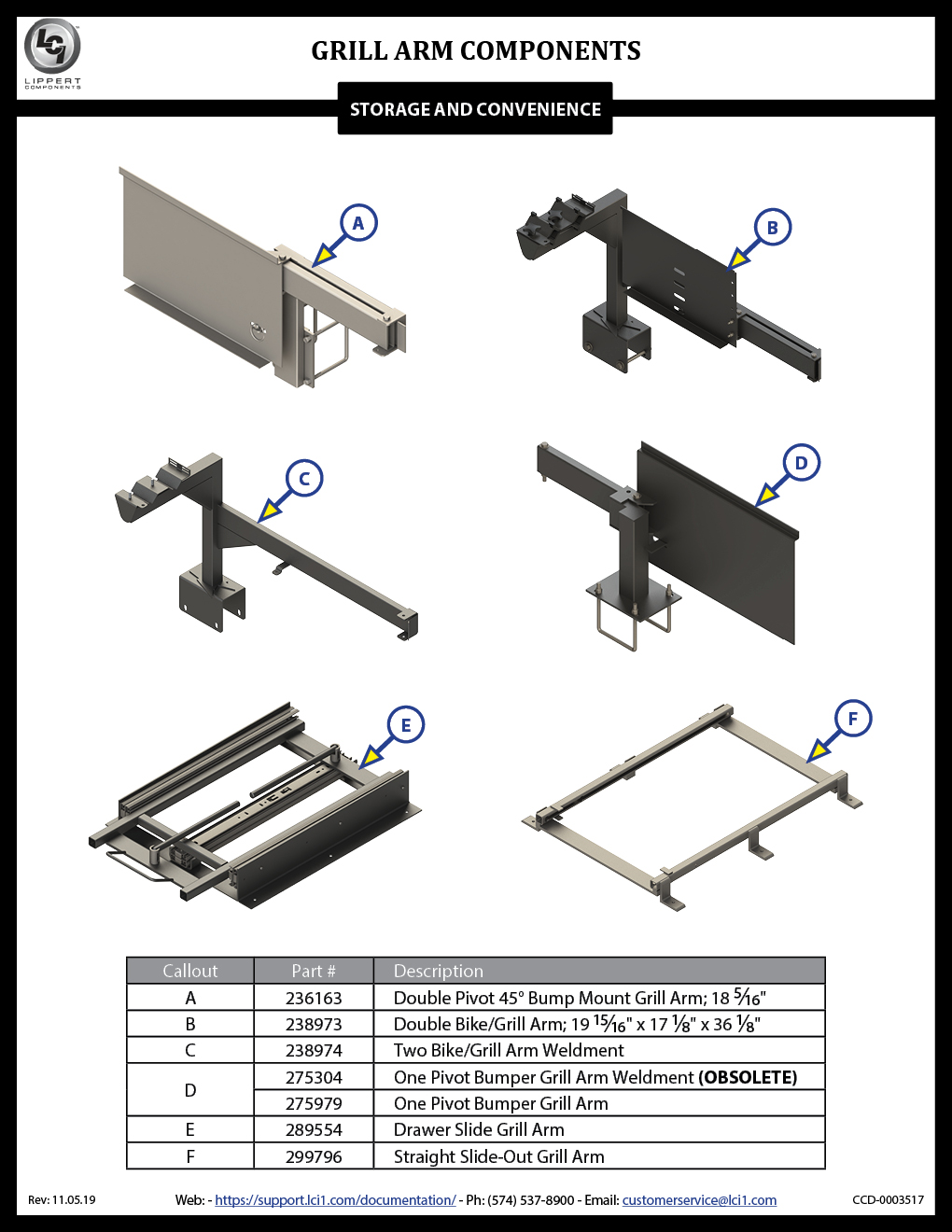 Grill Arm Components