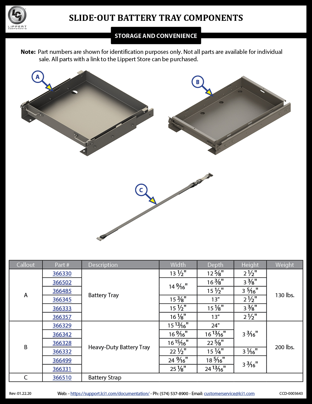 Slide-Out Battery Tray Components