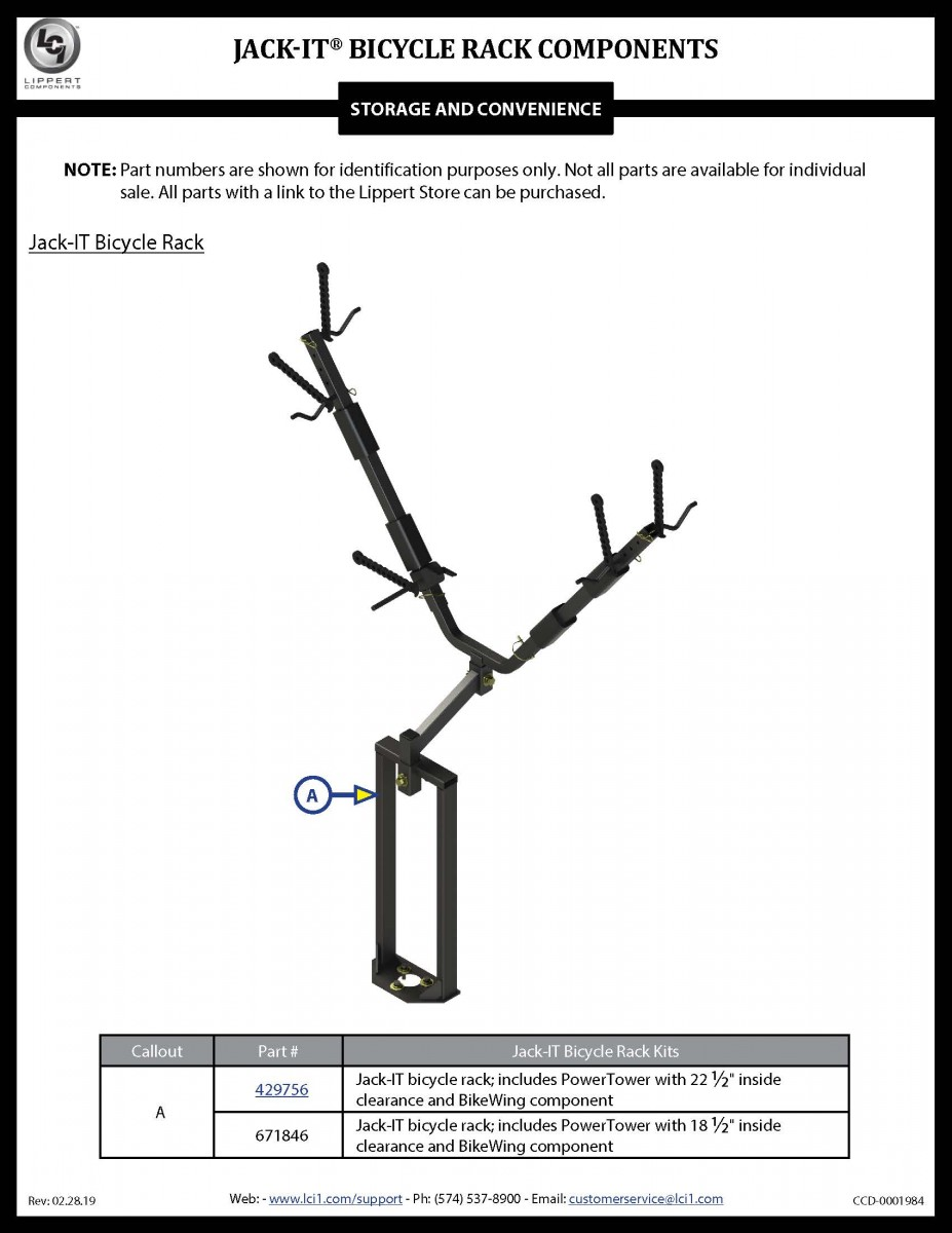 Jack-IT® Bicycle Rack Components
