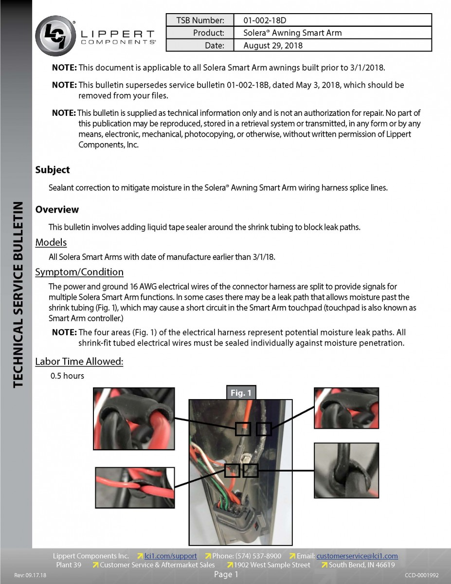 Solera® Awning Smart Arm™ Moisture Mitigation 01-002-18
