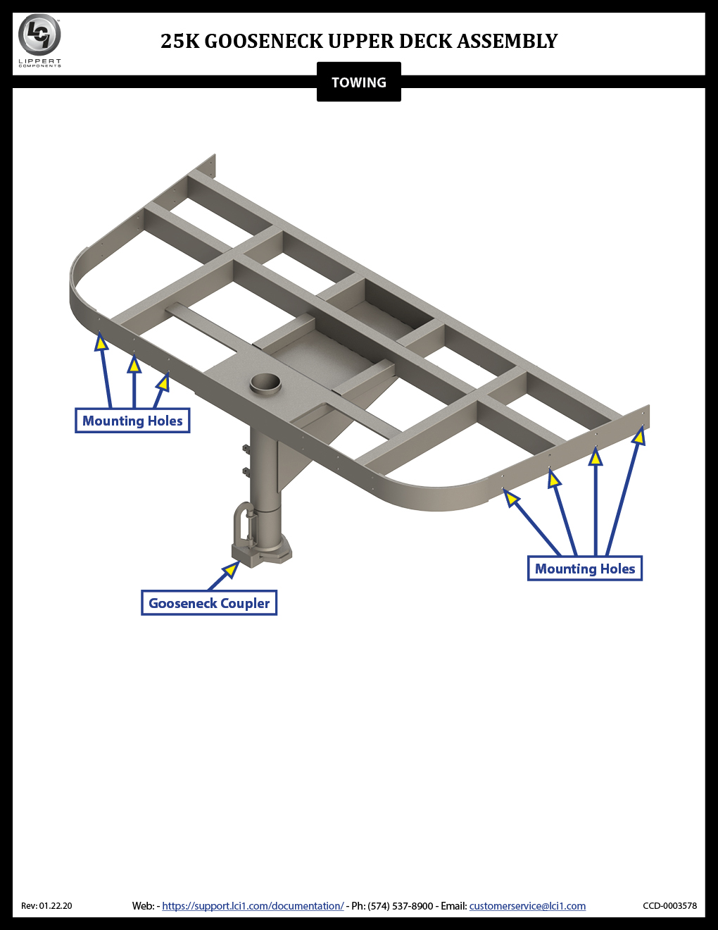 25K Gooseneck Upper Deck Assembly