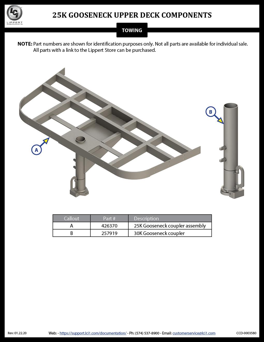 25K Gooseneck Upper Deck Components