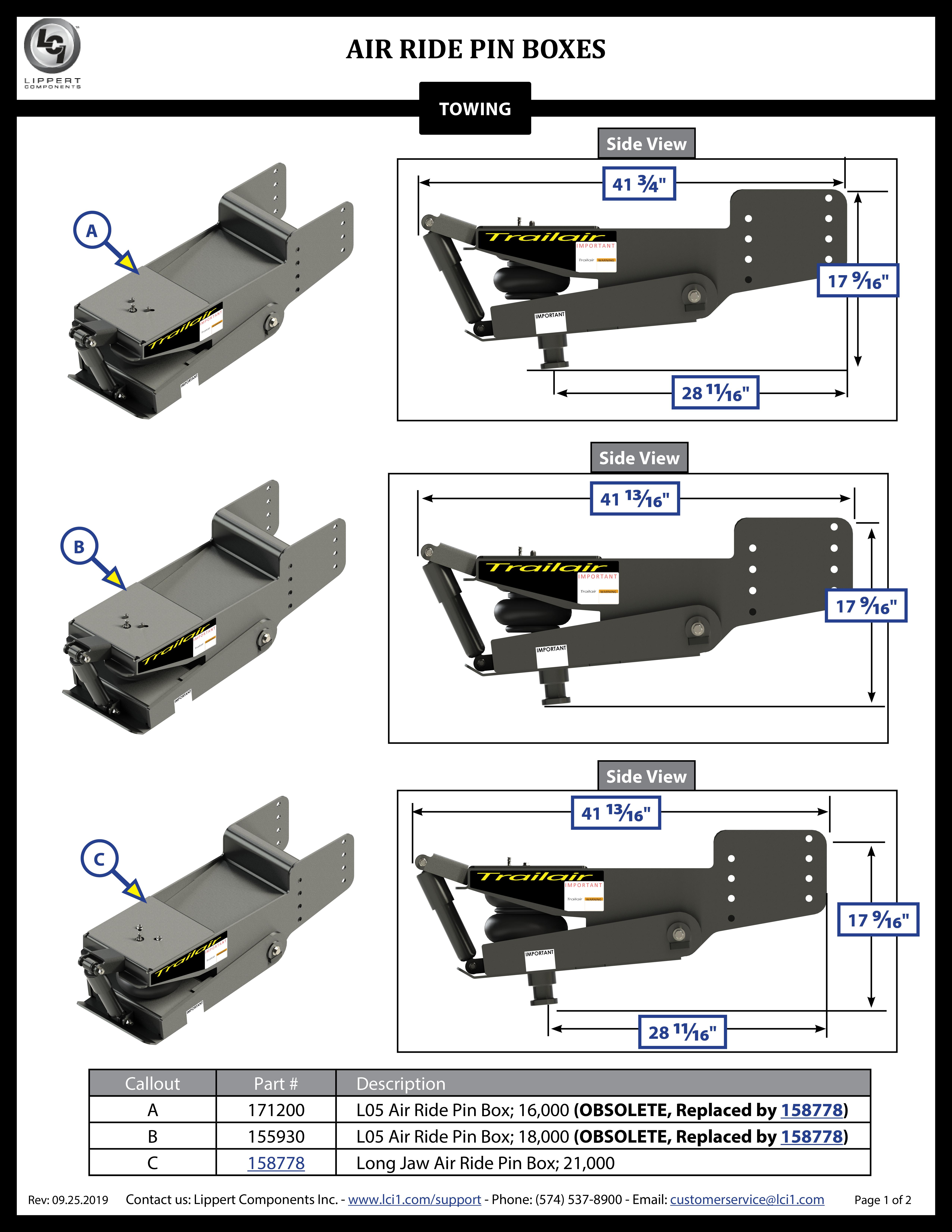 Air Ride Pin Boxes