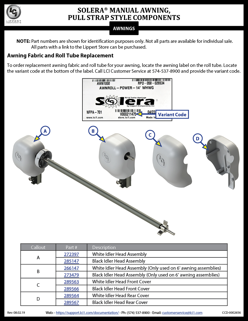 Solera® Manual Awning Pull Strap Style Components