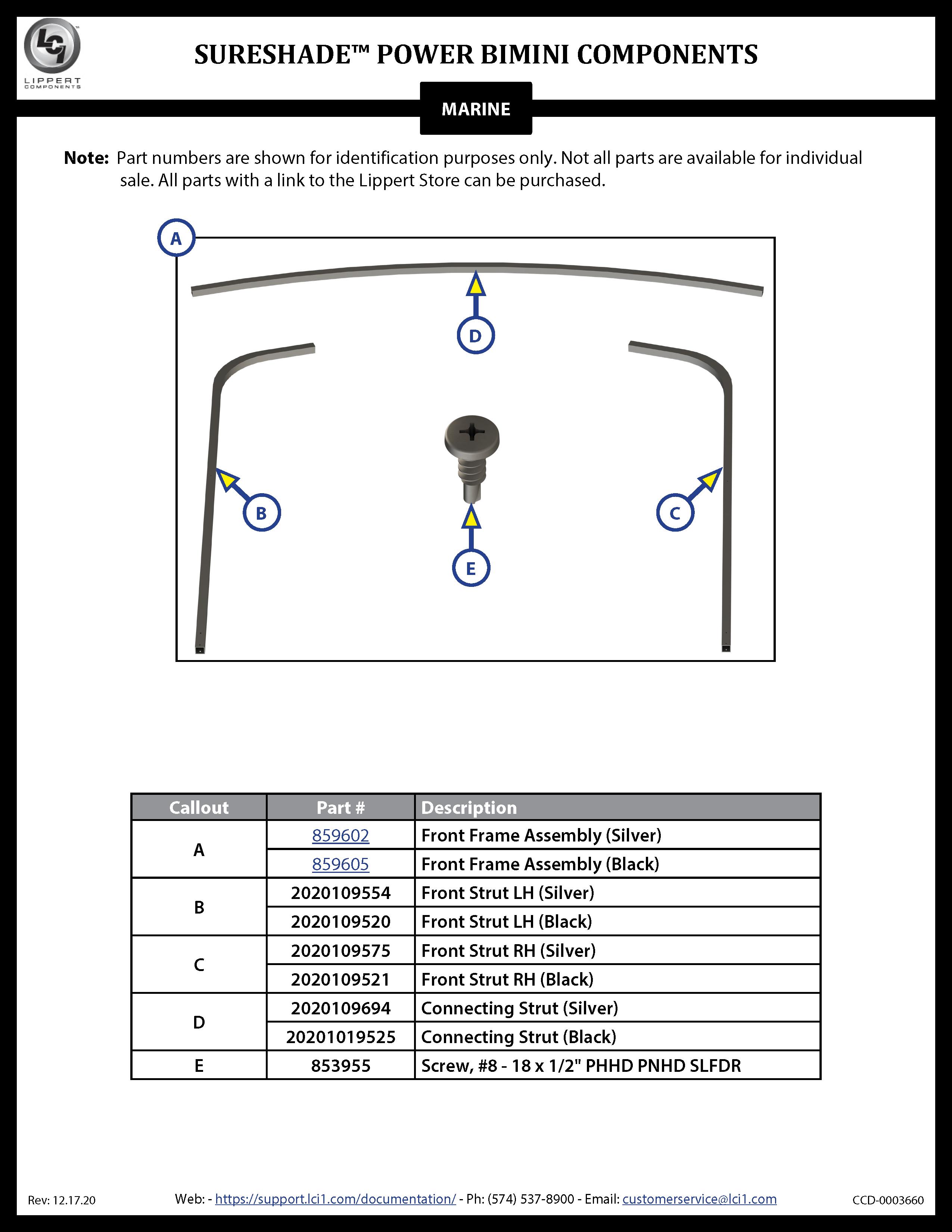 SureShade® Power Bimini Components